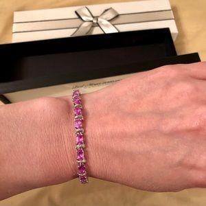 Zales pink sapphire & diamond chip bracelet